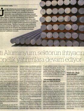 Eti Alüminyum Yatırımlarına Devam Ediyor - Dünya Gazetesi 03.11.2016