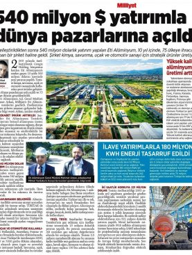 Eti Alüminyum dünya pazarlarına açıldı - Milliyet Gazetesi 19.05.2016