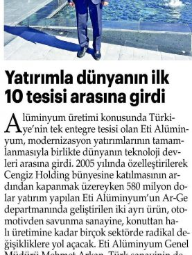 Yatırımla Dünyanın İlk 10 Tesisi Arasına Girdi - Yeni Akit Gazetesi 29.10.2017